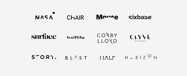 before presenting my versions, I showed my client all the sliced logos I had found